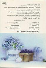 VINTAGE BLUEBERRY BATTER CAKE RECIPE EGG S & P SHAKERS BLUE HYDRANGEA CARD PRINT