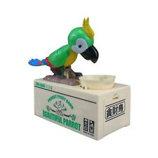 My Cute Parrot Electronic Coin Piggy Bank Eats & Saves Money Box Green