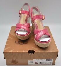 UGG Jackilyn Princess Pink Patent Leather Wedge Sandals Strappy Size 6 Shoes