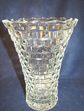 "COLONY INDIANA GLASS WHITEHALL Stack Cube LARGE FLARED 10"" Tall VASE @20"