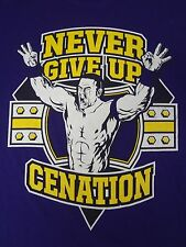 WWE - JOHN CENA - NEVER GIVE UP - CENATION - LARGE PURPLE T-SHIRT B413