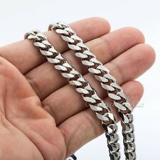 3/5/7/9/11mm Boys MENS Chain Stainless Steel Silver Curb Link Necklace 18-36''