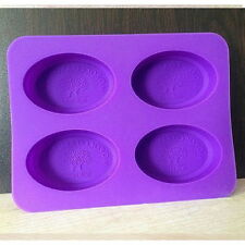 4-Oval Tree Fairy Soap Mould Flexible Silicone Cookie Mold Chocolate Mould AS