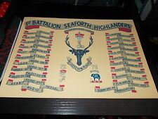 THE SEAFORTH HIGHLANDERS, 1ST BN REGIMENT BATTLE HONOURS A4 PRINT