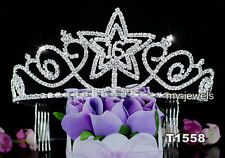 Prom Party Sweet 16 Sparkling Crystal Quinceanera Star Tiara T1558