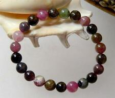 NATURAL ROUND MULTICOLOR PINK GREEN BLACK TOURMALINE BEADS STRETCH BRACELET 7""