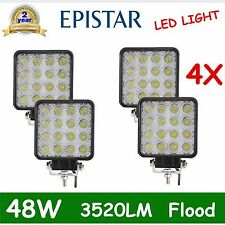 4pcs 48W Flood Lamp Led Work Light Boat Tractor Truck Offroad SUV UTE 4WD 16/27W