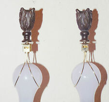 LAMPSHADES A PAIR OF BROWN CERAMIC LAMP FINIALS w/ BRASS BULB CLIP ADAPTERS