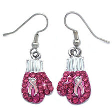 Support Breast Cancer Awareness Boxing Glove Drop Dangle Hook Earrings Jewelry