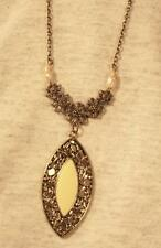 Lovely Cream Enameled Sea Pearl Curved Oval Floral Brasstone Pendant Necklace