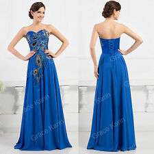 Vintage Peacock Style Masquerade Ball Gown Bridesmaid Party Maxi Long Prom Dress