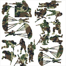 Soldier Green Camo Pack of 18 Wall Art Stickers Army Soldiers Decals