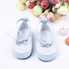 Blue White PU Leather Ankle Belt Shoes For 18inch American Girl Doll Party Toys