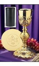 Coronation Chalice with IHS Paten and Leather Carrying Case