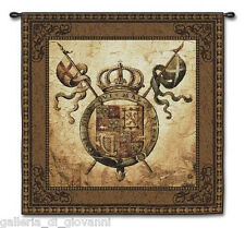 "Shield Crest  Wall Tapestry 53""x 53""  WITH ROD Old World Medieval Art Terra Nova"