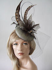 Dark Gold Brown & Black Feathered Button Fascinator Hatinator Hat Ascot FG220