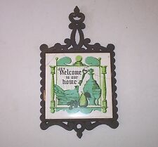 "Vintage cast iron and tile trivet pot holder ""Welcome to our home"" large tile"