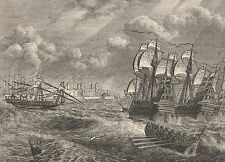 ANTIQUE PRINT, SPAIN, CADIZ, ENGLISH FLEET BEFORE CADIZ 1596