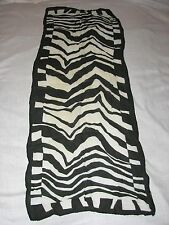 Silk Zebra Black and White Sheer Print pattern geometric scarf small long ladies