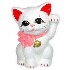 """Japanese 6"""" H Ceramic Maneki Neko Welcome Cat w/ Pink Ribbon Beckoning Coin Bank"""