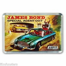 RETRO - JAMES BOND 007 ASTON MARTIN  AIRFIX KIT ARTWORK - JUMBO FRIDGE MAGNET