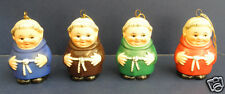 Four (4) GOEBEL Friar Tuck Ornaments- Brown- Red- Green- Blue
