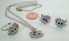 Hello Kitty Jewelry PinkTie kids Silver Chain Multi-Stone Pendant Stud Ring #374