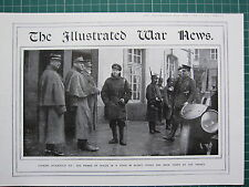 1915 WWI WW1 PRINT ~ PRINCE OF WALES IN TOWN IN ALSACE TAKEN BY FRENCH