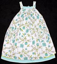 ROOM SEVEN Turquoise Blue Floral DAFFODIL Tank Dress 122 Euro 7 (Fit 5-6) EUC nb