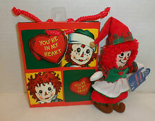 "2002 MWT 6"" Raggedy Ann in Elf Costume Holiday Ann Ornament by Applause Gift bag"