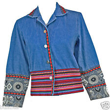 PXS Coldwater Creek Blue Denim Jacket TAPESTRY EUC South Western Clean Pxs