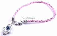 Hamsa Pink Leather Bracelet Evil Eye Kabbalah Hand Of Fatima Silver Judaica Gift