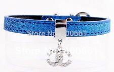 US SELLER Blue CC SPARKLE Dog Cat Bling Rhinestone Pet Collar w CC CHARM S