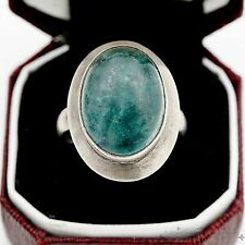Antique Vintage Art Deco Sterling Silver 9.15 Ct Colombian Emerald Ring Sz 5.5