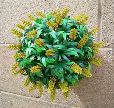 Best Artificial 24cm Yellow Flower Ball Lush Long Leaf Topiary Grass Plant