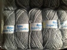 ROBIN SUPER CHUNKY KNITTING WOOL 5X100G SILVER GREY SHADE 27 THOMAS RAMSDEN YARN