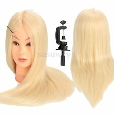 "24"" 90% Real Human Hair Training Head Hairdressing Mannequin Doll & Table Clamp"