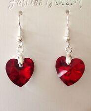 Crystal Heart orecchini-rosso palline di vetro-WEDDING Bridesmaids gioielli
