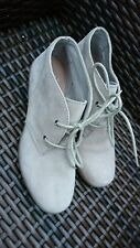 CLARKS BOOTS  SIZE 5 D BEIGE SUEDE LEATHER ANKLE BOOTS WEDGE HEEL