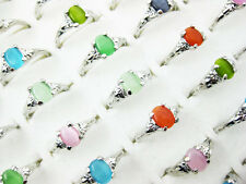 wholesale Mixed lots 10pcs cat-eye & Silver Plated rings free shipping J111