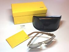 Fendi FS 411 Aviator Sunglasses with Buckle Color 718 Gold Brown & Case PREOWNED
