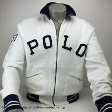 RALPH LAUREN POLO FLEECE TRACK JACKET ZIP UP WHITE JUMPER SIZE XL RRP £170