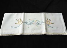 Vintage Embroidered Birds Ribbon Pillowcase with Crocheted Trim