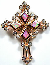 Rose Gold Plated 925 Sterling Silver & Pink Fire Opal Inlay Cross Pendant