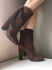 New GIUSEPPE ZANOTTI Suede Fringed Alabama Pull-On Ankle Boots Size 7.5