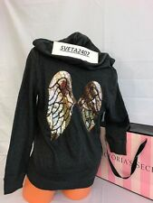 NWT Victoria's Secret Hoodie~Inside Fleece~Gold Sequins Wings~Charcoal Gray~M