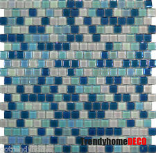 SAMPLE- Blue White Glass Mosaic Tile Kitchen Backsplash Sink Bath Pool Spa Wall