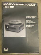 Instructions slide projector KODAK carousel S-AV 2010 GB   CD/EMail