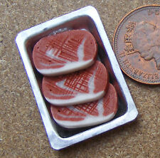 1:12 Scale Sirloin Steaks On A Metal Tray Doll House Miniature Butcher Meat Food