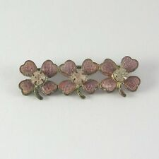 Vtg Four Leaf Clover Pin Brooch White Rhinestone 1940s 1950s Lapel Hat Pink Luck